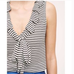 Anthropologie Dolan Left Coast Ruffle Tie Neck Top